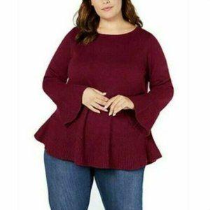 Style & CO 0X Burgundy Bell Cuff Sweater NWT N34